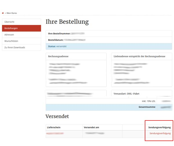 Screenshot der Bestelldetails