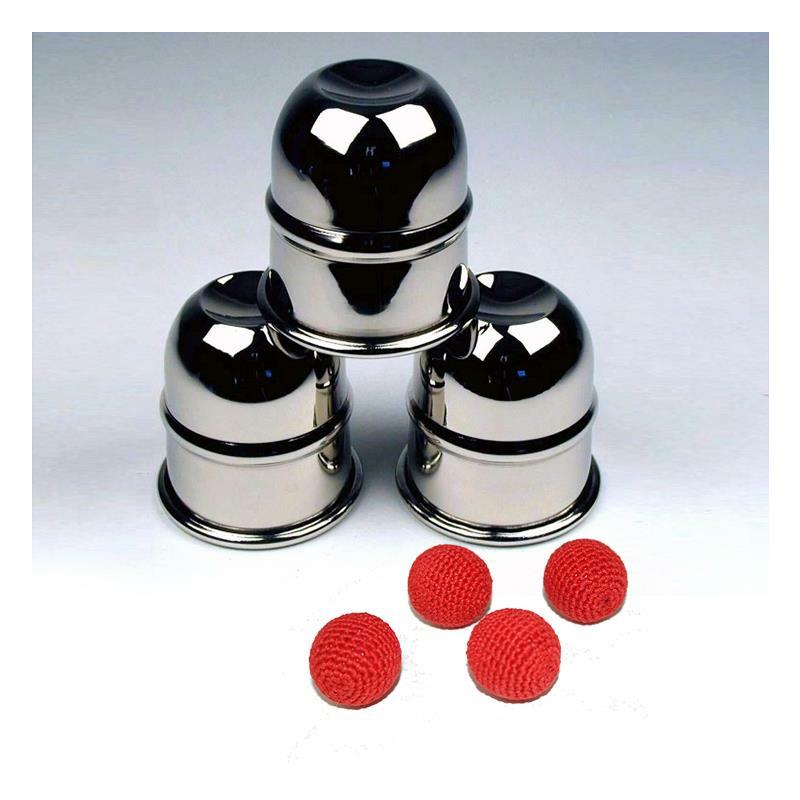 Becherspiel Professional (Nickel) inkl. 4 Bälle - Zaubertrick Zauberartikel Zaubertricks