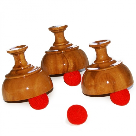 Wooden Cups and Balls - Indian Style, Becherspiel aus Holz